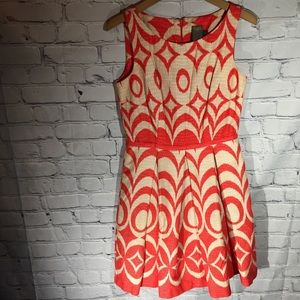 Taylor orange/cream pleated dress Sz 4